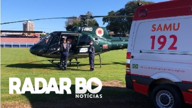 Idoso após infarto é transferido de Assis para Cascavel por helicóptero