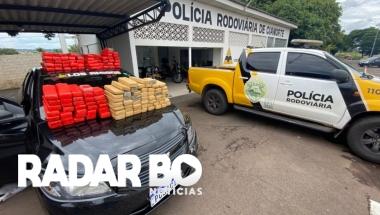 Carro carregado com 140 tabletes de maconha é apreendido em Cianorte
