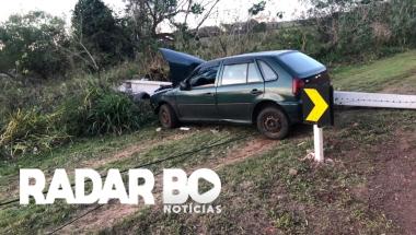 Motorista de Gol derruba poste ao sair da pista entre Marechal Rondon e Curvado