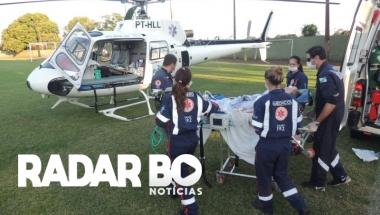 Helicóptero transfere mulher com problema clinico em Assis Chateaubriand